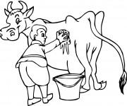 Coloriage Fermier et sa vache