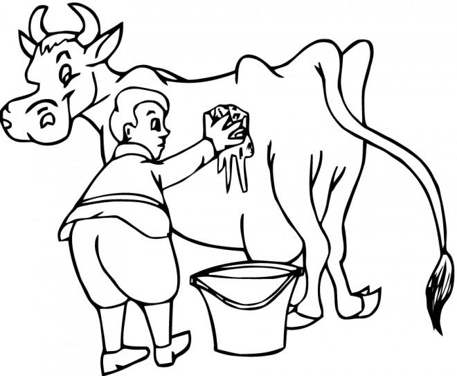 Coloriage et dessins gratuits Fermier et sa vache à imprimer