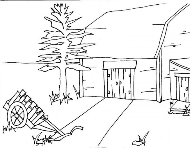 Coloriage et dessins gratuits La ferme à la Campagne facile à imprimer