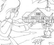 Coloriage La petite fille et son lapin en Campagne