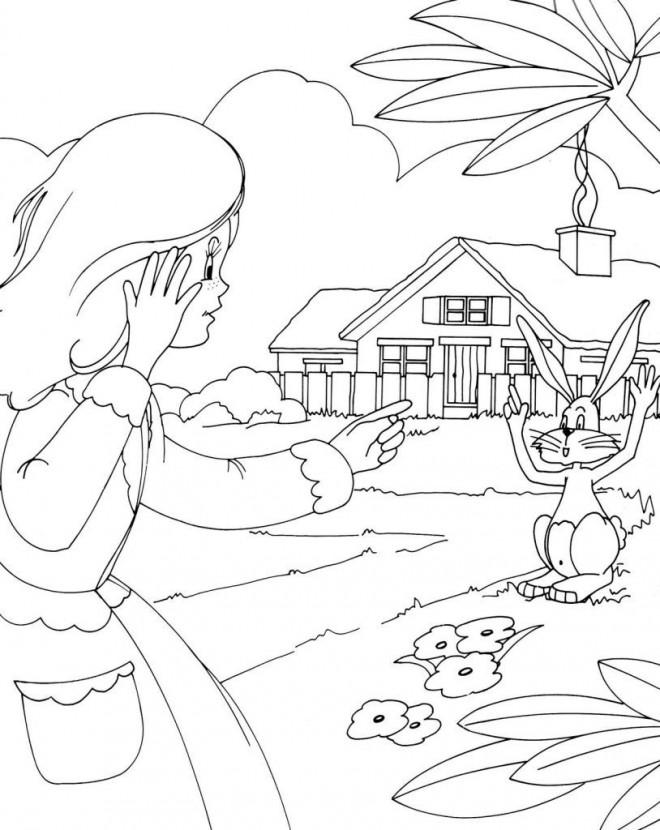 Coloriage et dessins gratuits La petite fille et son lapin en Campagne à imprimer