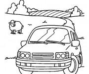 Coloriage La voiture à la Campagne