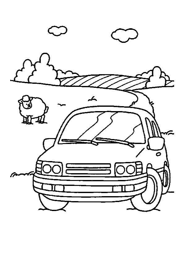 Coloriage et dessins gratuits La voiture à la Campagne à imprimer