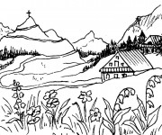 Coloriage Paysage de montagne