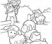Coloriage Petit Fermier avec ses Animaux