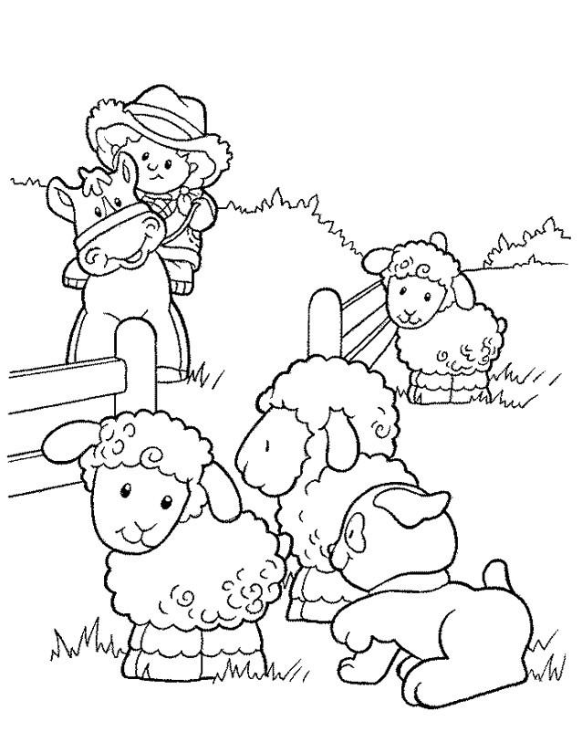 Coloriage et dessins gratuits Petit Fermier avec ses Animaux à imprimer
