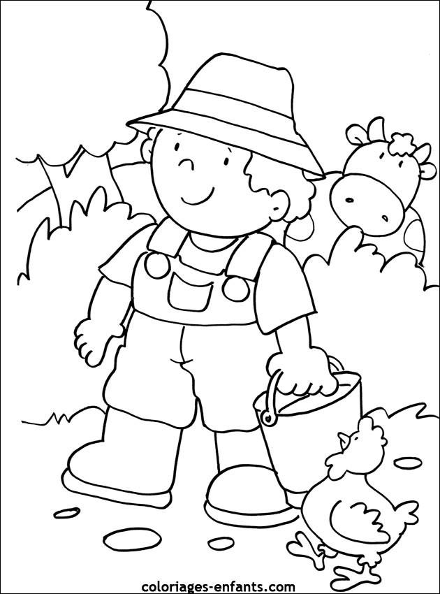Coloriage et dessins gratuits Petit Fermier dans La Campagne à imprimer