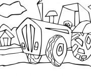 Coloriage Tracteur à la Campagne