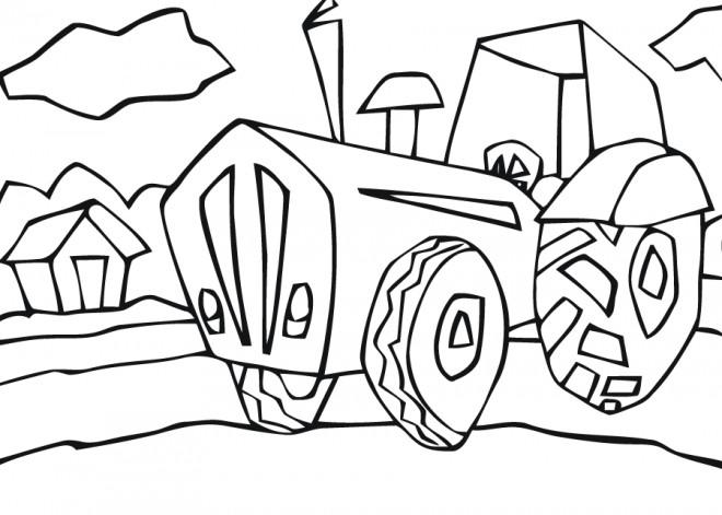 Coloriage et dessins gratuits Tracteur à la Campagne à imprimer