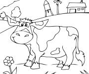 Coloriage Vache heureuse dans la Campagne