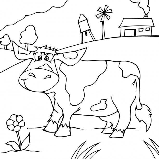Coloriage et dessins gratuits Vache heureuse dans la Campagne à imprimer