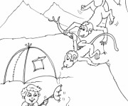 Coloriage Animaux voleurs Camping