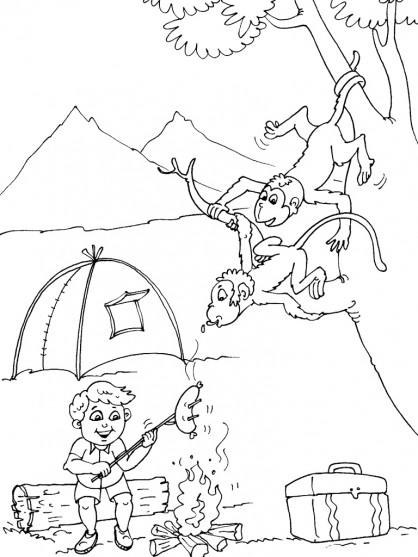 Coloriage et dessins gratuits Animaux voleurs Camping à imprimer