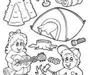 Coloriage et dessins gratuit Camping amusant à imprimer