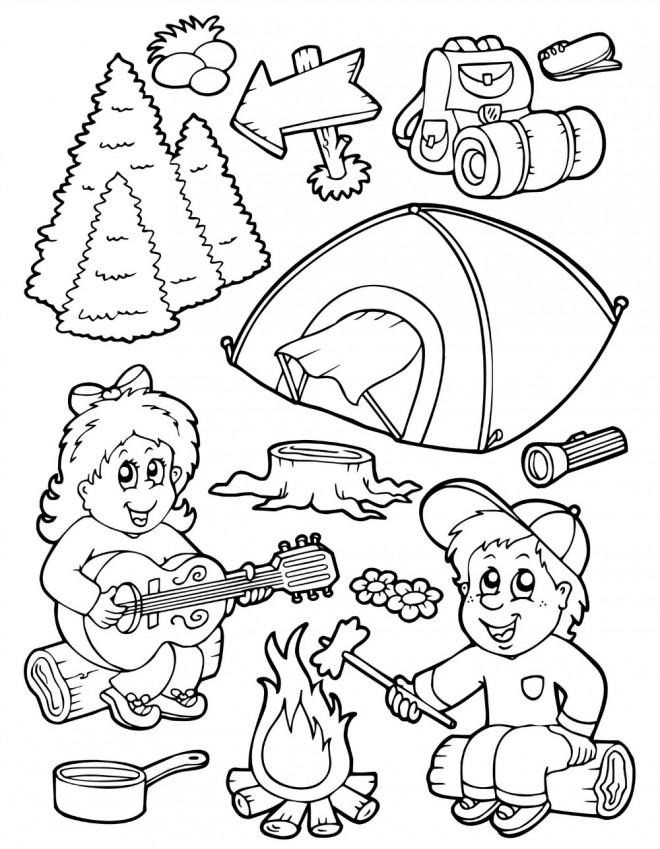 Coloriage et dessins gratuits Camping amusant à imprimer