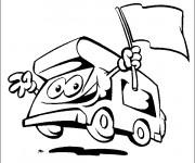 Coloriage Camping Car avec le drapeau