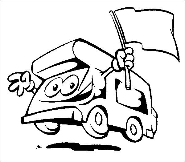 Coloriage et dessins gratuits Camping Car avec le drapeau à imprimer