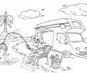 Coloriage Camping Car d'un pêcheur