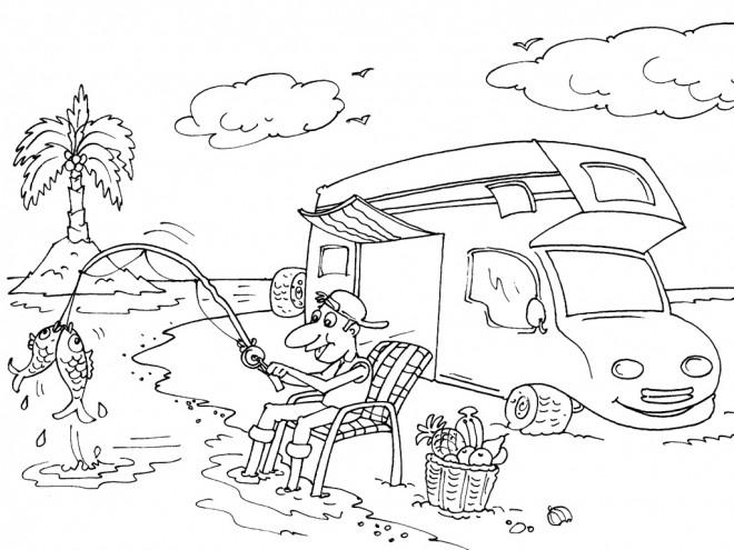 Coloriage camping car d 39 un p cheur dessin gratuit imprimer - Dessin a colorier camping car gratuit ...
