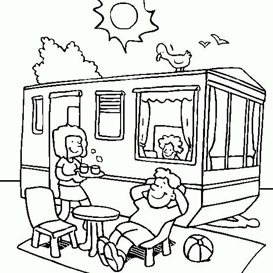 Coloriage camping car sous le soleil dessin gratuit imprimer - Dessin de soleil a imprimer ...
