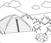 Coloriage et dessins gratuit Camping dans La Nature à imprimer