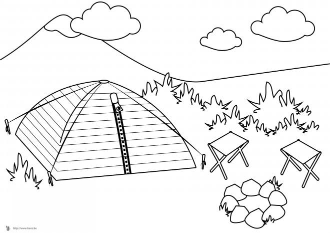 Coloriage camping dans la nature dessin gratuit imprimer - Camping car a colorier ...