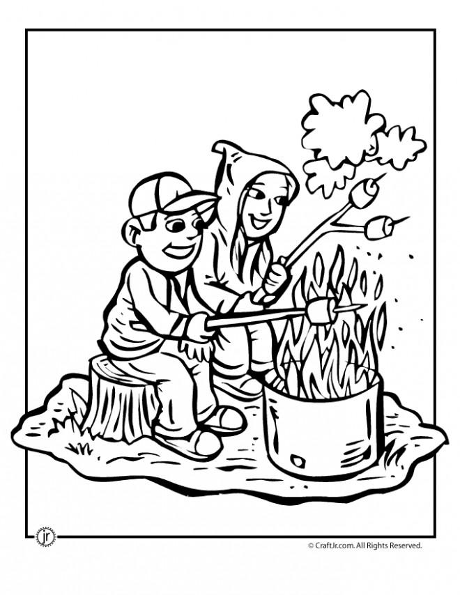 Coloriage et dessins gratuits Camping Dîner à imprimer