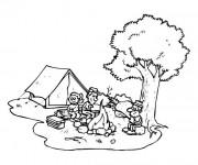 Coloriage Camping en plein air