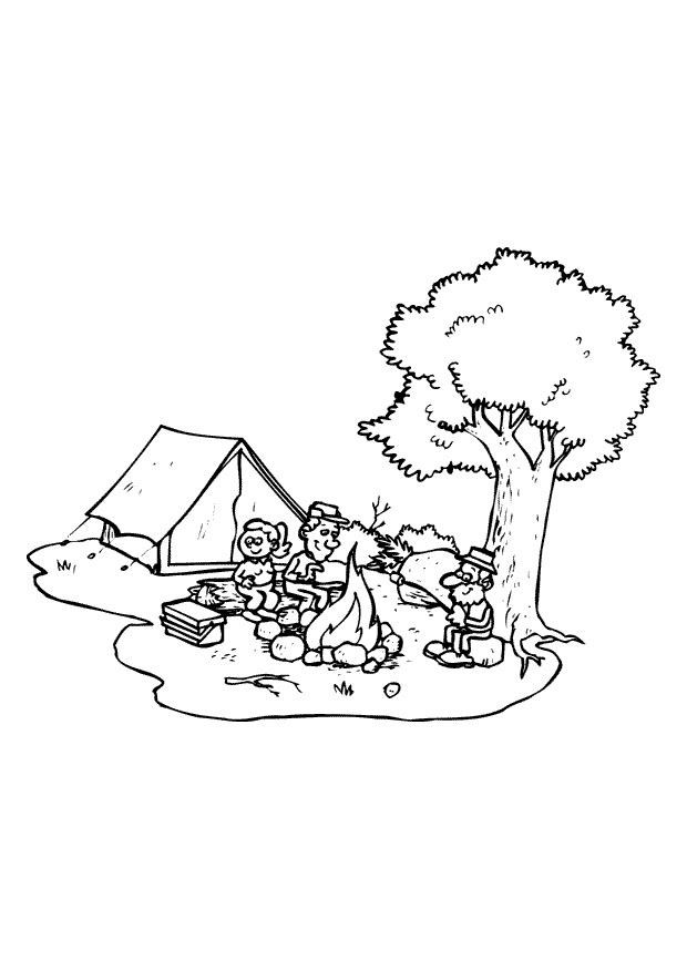 Coloriage et dessins gratuits Camping en plein air à imprimer