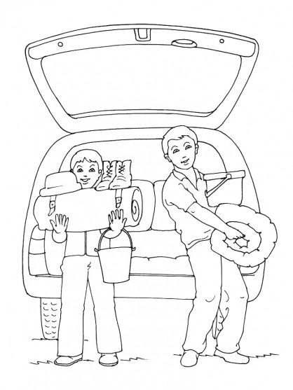 Coloriage et dessins gratuits Camping en voiture à imprimer