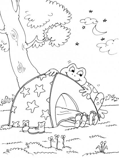 Coloriage et dessins gratuits Camping et Grenouille curieux à imprimer