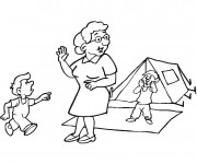 Coloriage Camping Grand mère et les enfants