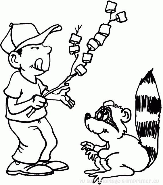 Coloriage et dessins gratuits Camping humoristique à imprimer