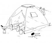 Coloriage Camping sous La Tente
