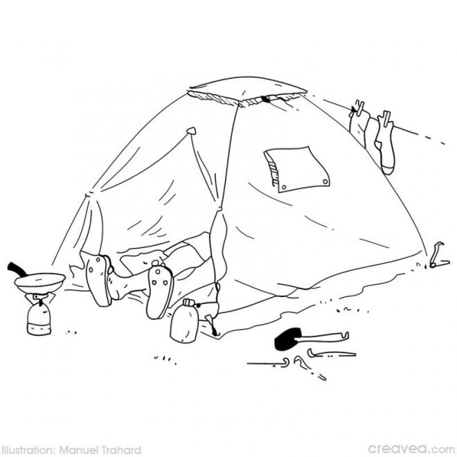 Coloriage et dessins gratuits Camping sous La Tente à imprimer