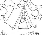 Coloriage Enfant dans La tente Camping