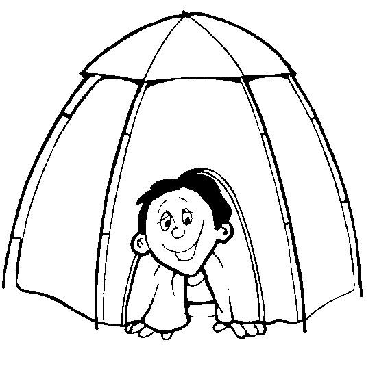 Coloriage et dessins gratuits Enfant rigolo sous La Tente Camping à imprimer