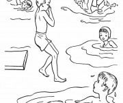 Coloriage Enfants s'amusent dans la mer