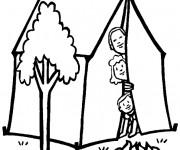 Coloriage et dessins gratuit Famille dans leur Tente à imprimer
