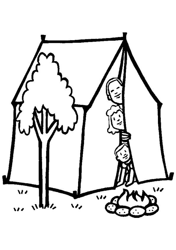 Coloriage et dessins gratuits Famille dans leur Tente à imprimer