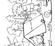Coloriage et dessins gratuit Garçon heureux en Camping à imprimer