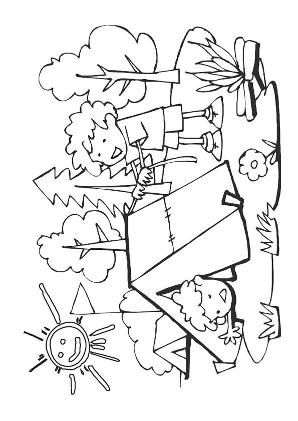 Coloriage et dessins gratuits Garçon heureux en Camping à imprimer