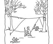 Coloriage Homme en Camping monte La Tente