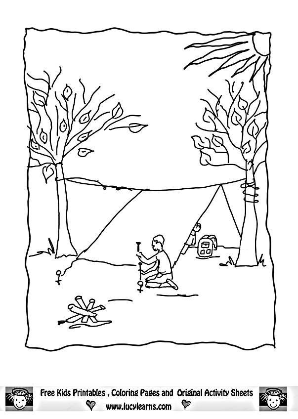 Coloriage et dessins gratuits Homme en Camping monte La Tente à imprimer