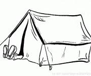 Coloriage et dessins gratuit Homme qui se repose Camping à imprimer