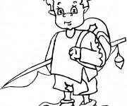 Coloriage Le petit enfant avec sa canne à pêche