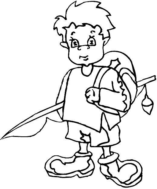 Coloriage et dessins gratuits Le petit enfant avec sa canne à pêche à imprimer