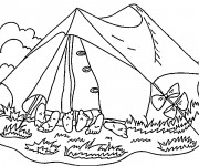 Coloriage et dessins gratuit Les amis dans La tente de Camping à imprimer