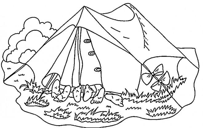Coloriage et dessins gratuits Les amis dans La tente de Camping à imprimer