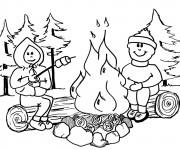 Coloriage Les Enfants allument le Feu Camping